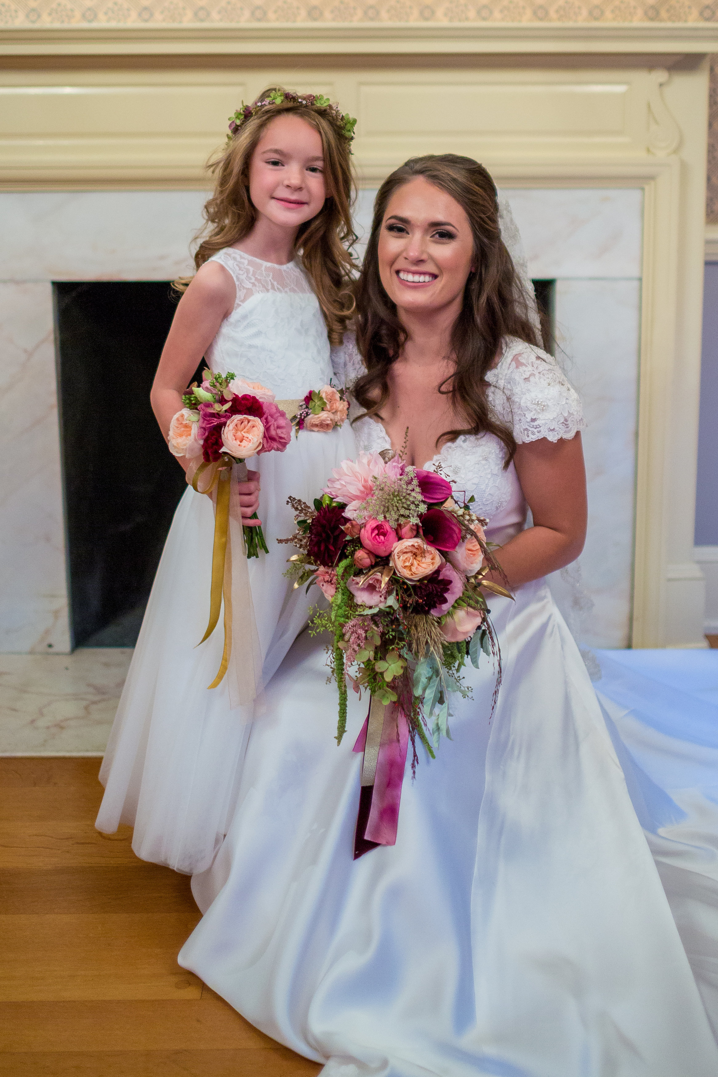 Delaware Wedding, Brantwyn Estate, Fall Bride, Flower Girl Crown, Bouquet, Tami & Ryan Photography