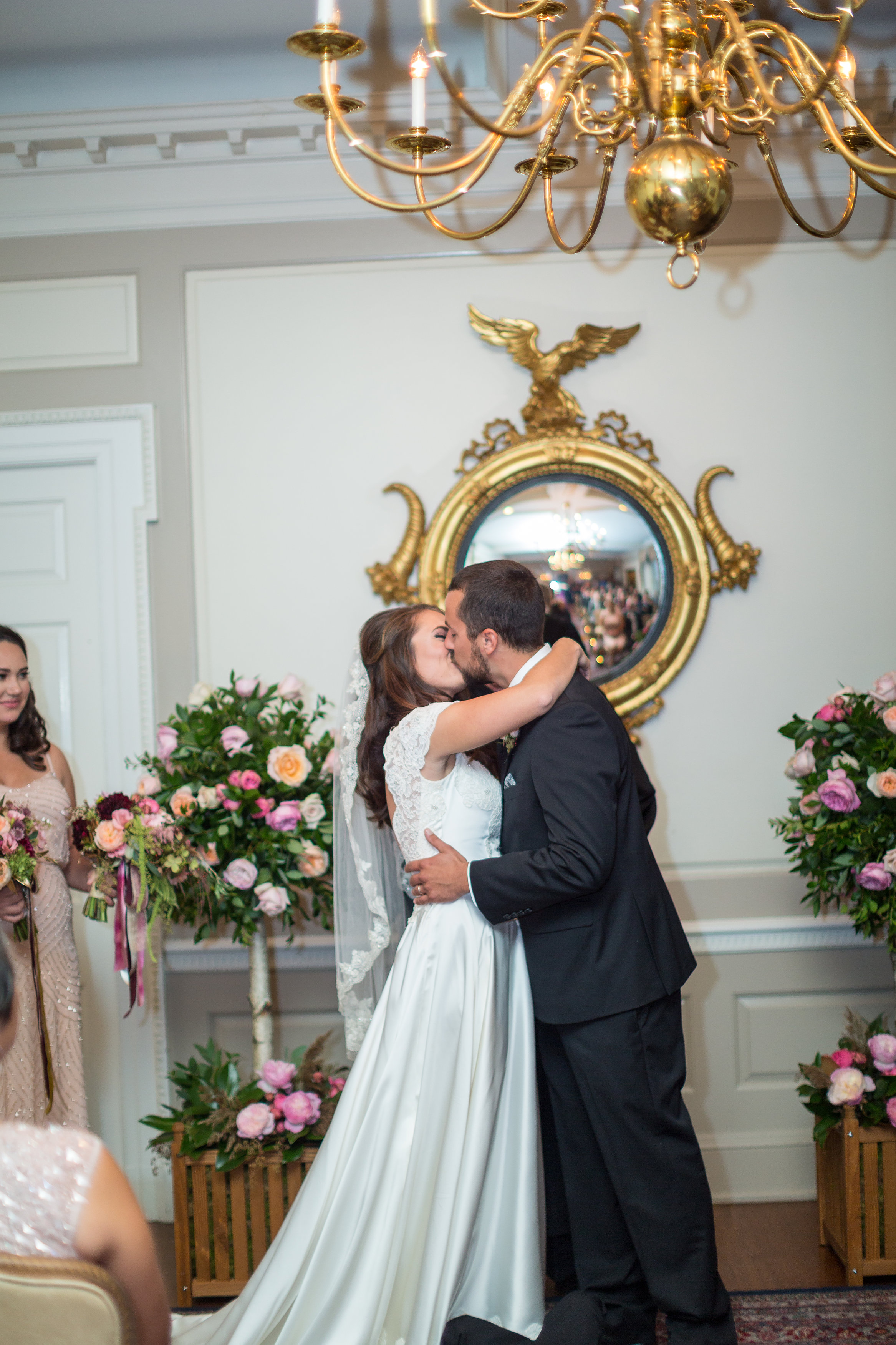 A Garden Party Florist, Tami & Ryan Photography, Brantwyn Estate, Wilmington, Pink, Ceremony Flowers, Topiaries