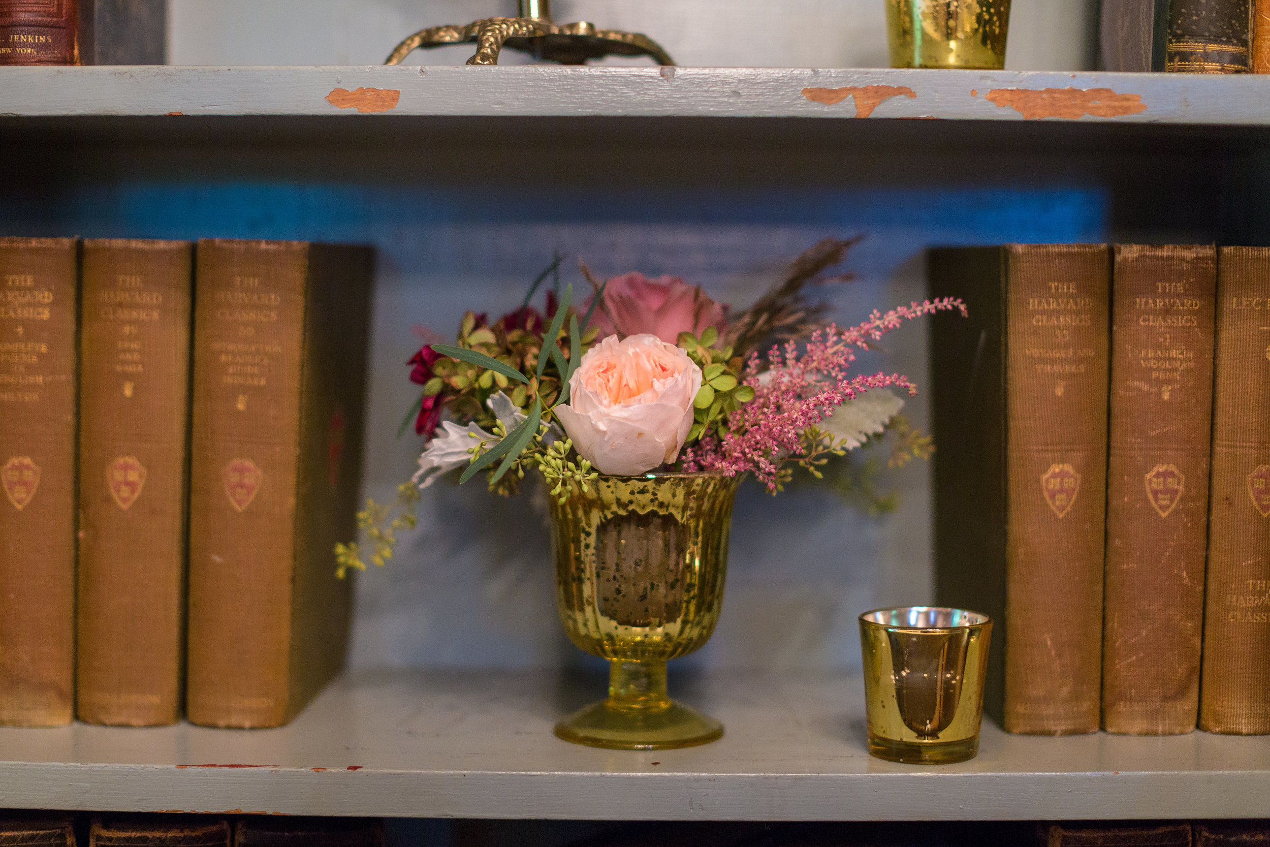 These gold mercury bud vases are always classic accents, and are great for sprucing up any open space.