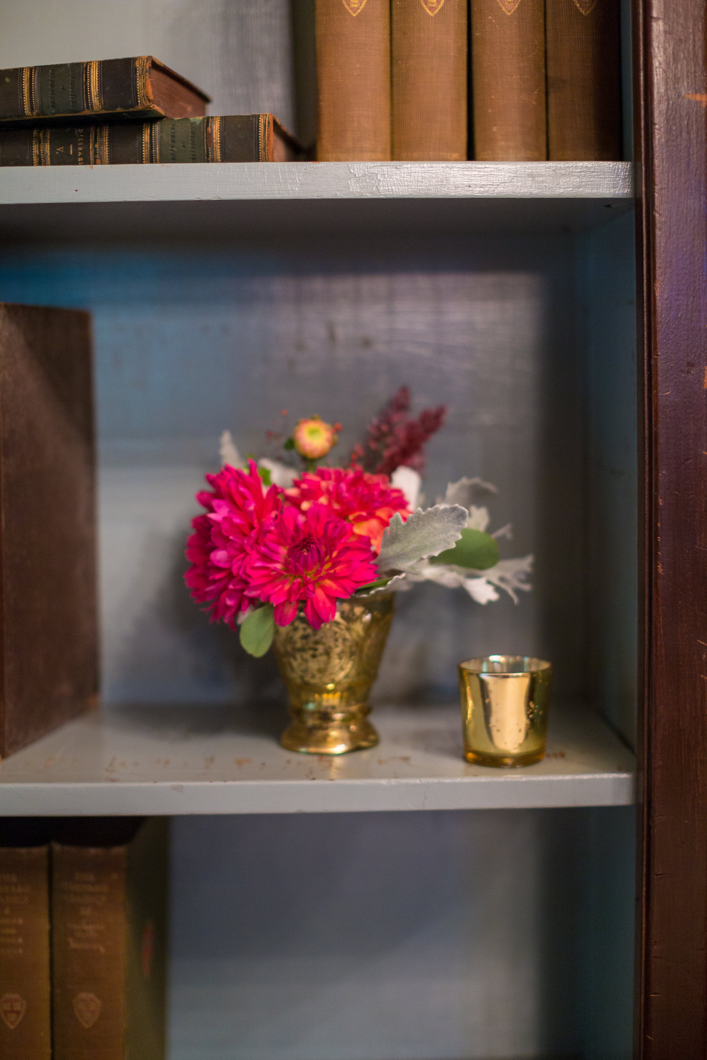 Ever nook, cranny, crevice and available space was filled with touches of flowers.