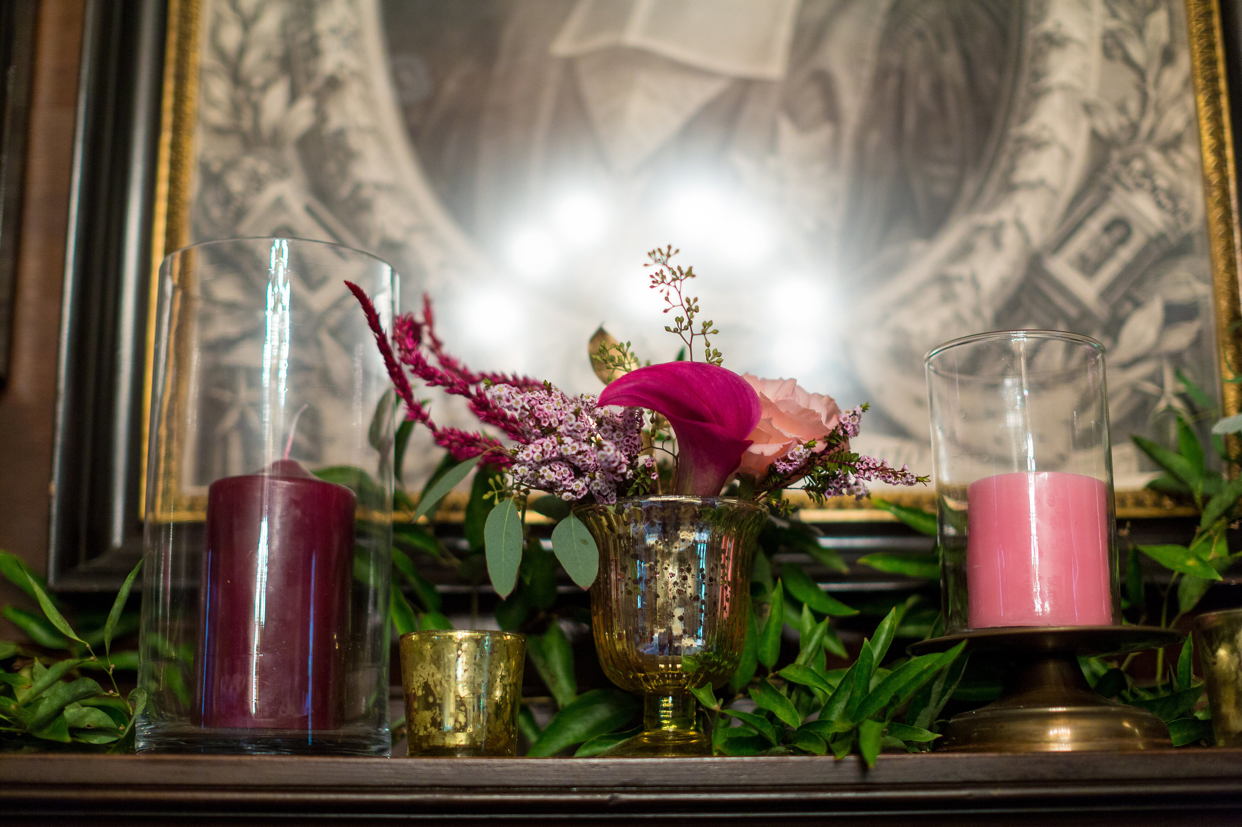 A Garden Party Florist, Tami & Ryan Photography, Brantwyn Estate, Wilmington, Pink, Mercury Glass
