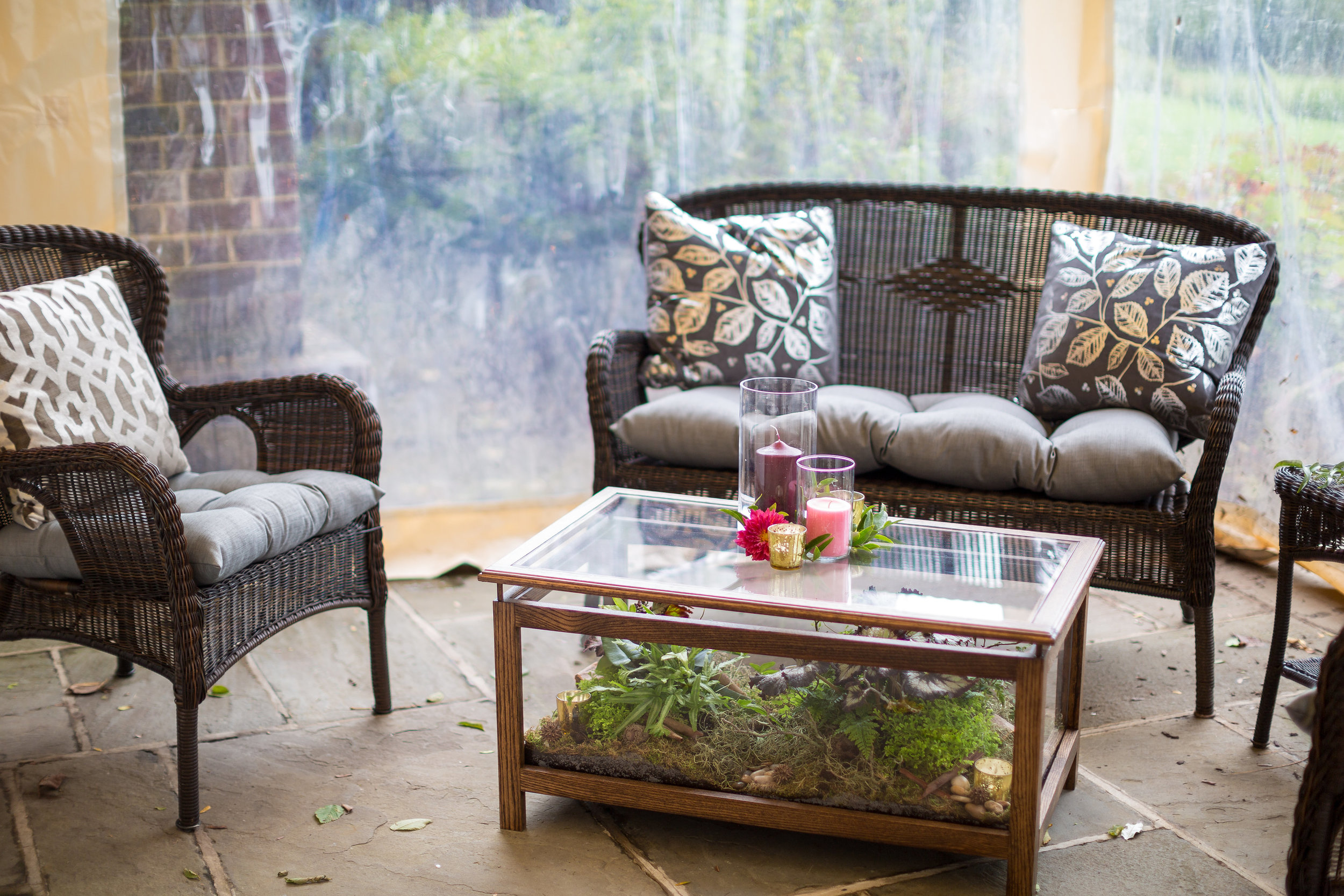 As a tribute to my great-aunt, I had an idea for these terrarium coffee tables which we could use in a lounge area.  Mary took my request to heart, and put together 3 different lounge areas with 2 of the coffee tables!  Guests occupied these spaces all night, and it really enhanced my open seating theme.