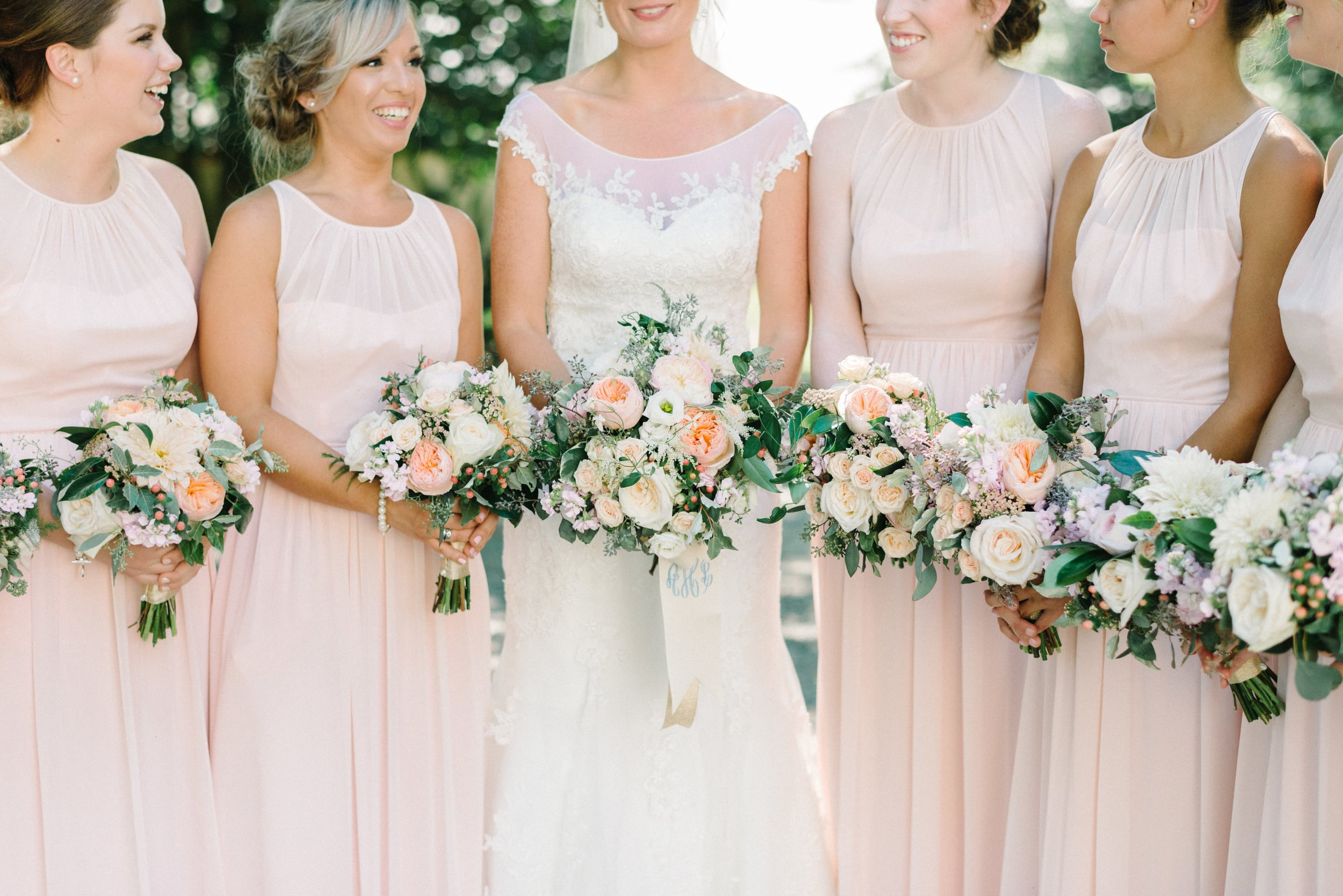 A Garden Party Florist, Inn at Fernbrook Farms, Michelle Lange Photography, Blush, Monogram, Bouquet Wrap