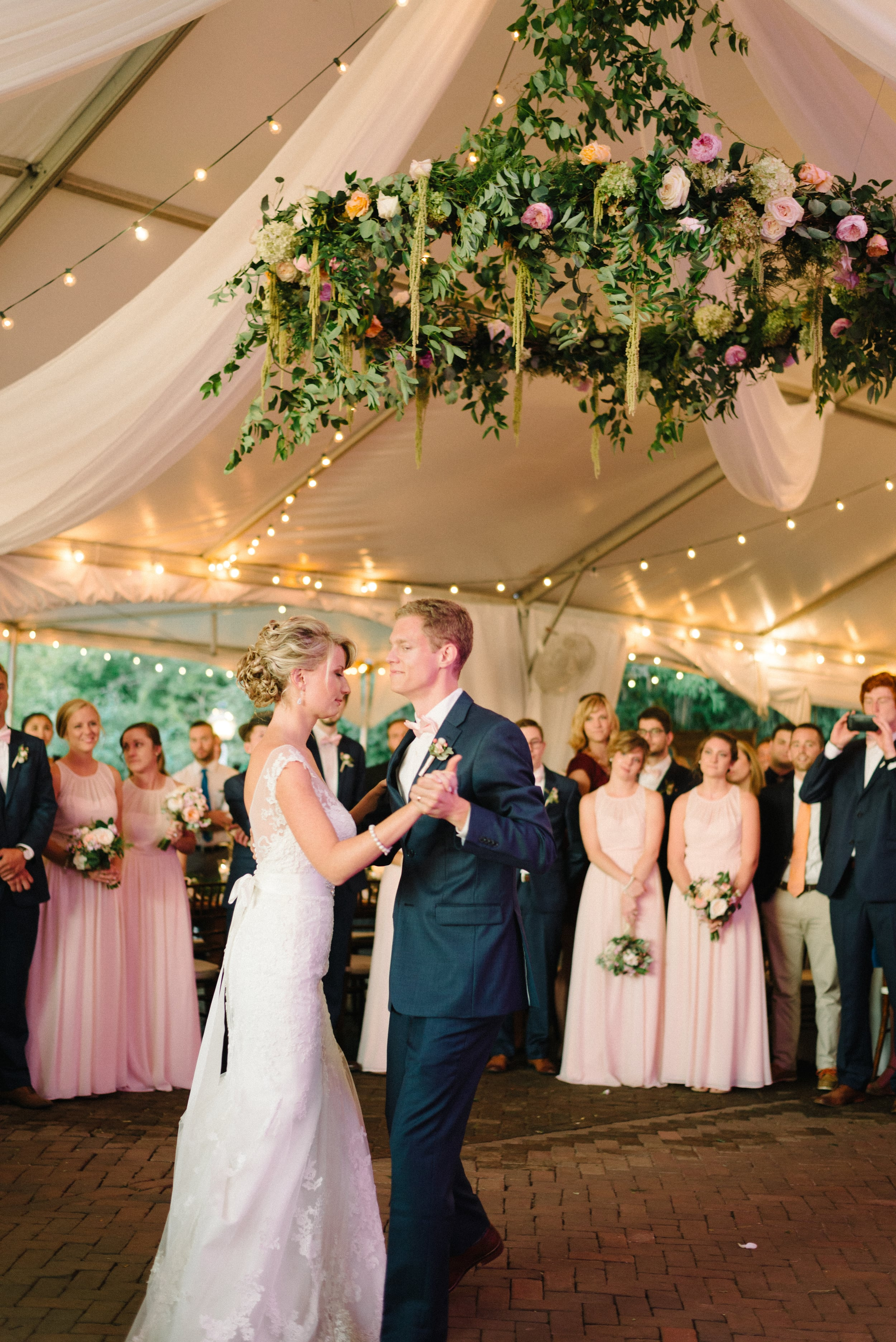 A Garden Party Florist, Inn at Fernbrook Farms, Michelle Lange Photography, Blush, Floral Chandelier