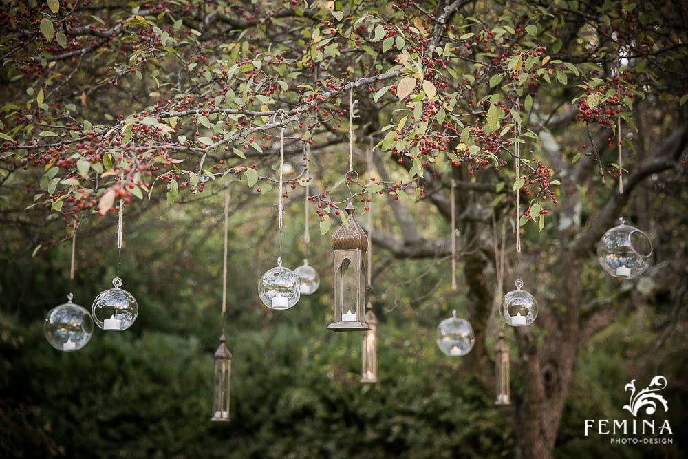 These hanging lanterns provided a very romantic backdrop of flickering candlelight for the ceremony spot.