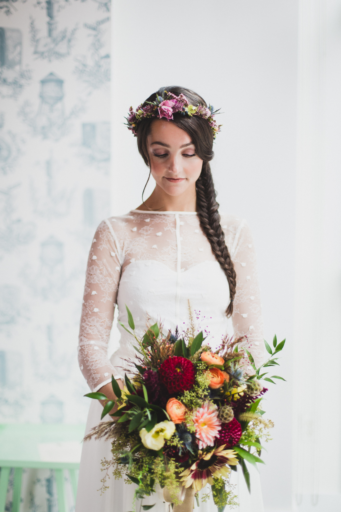 NJ Wedding, Fall Bridal Bouquet, Hair Flowers, Elvira Kaviste Photography