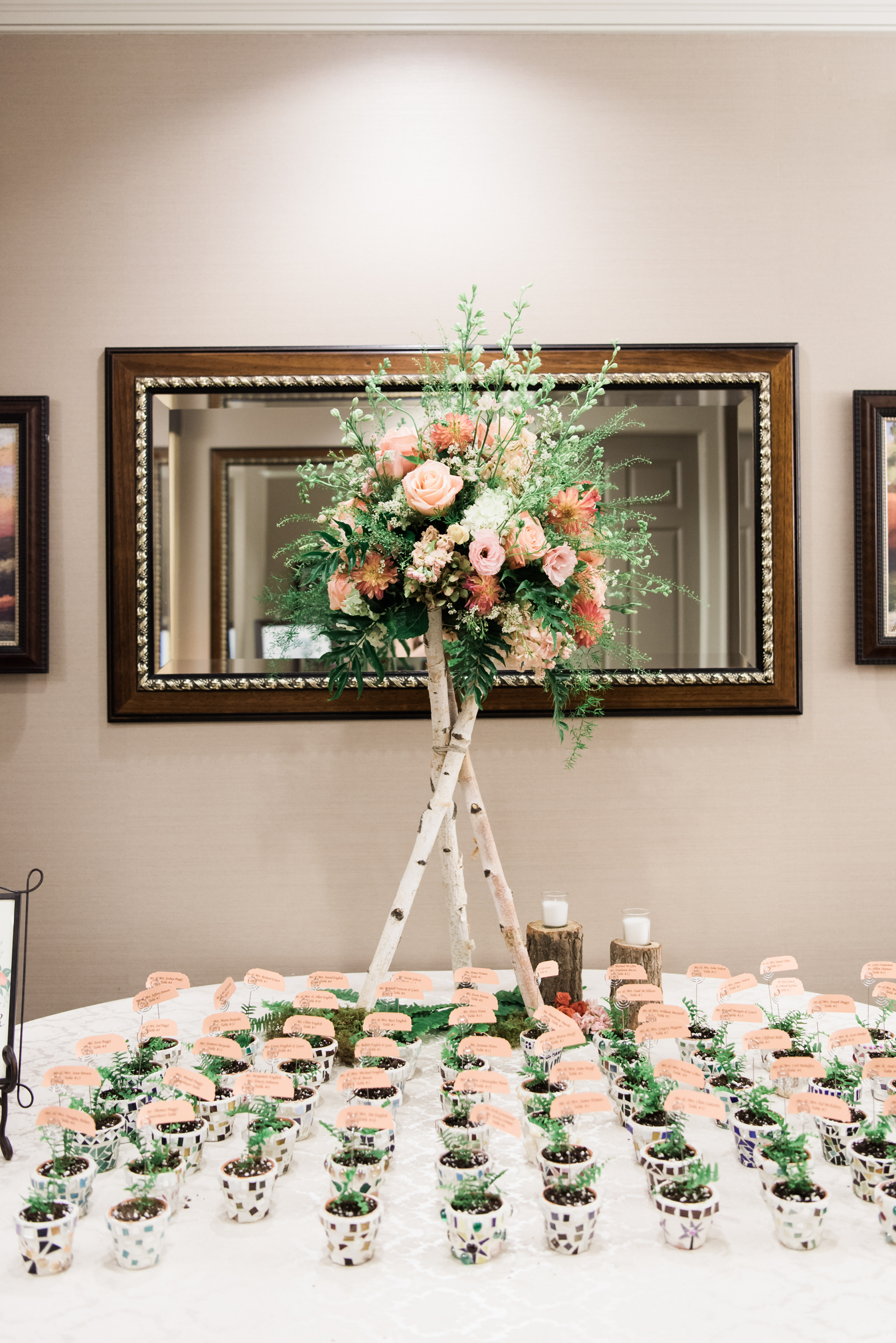 NJ Wedding, Seating Chart, Seating Assignments, Wedding Inspo, A Garden Party, Tall Centerpiece, Escort Cards