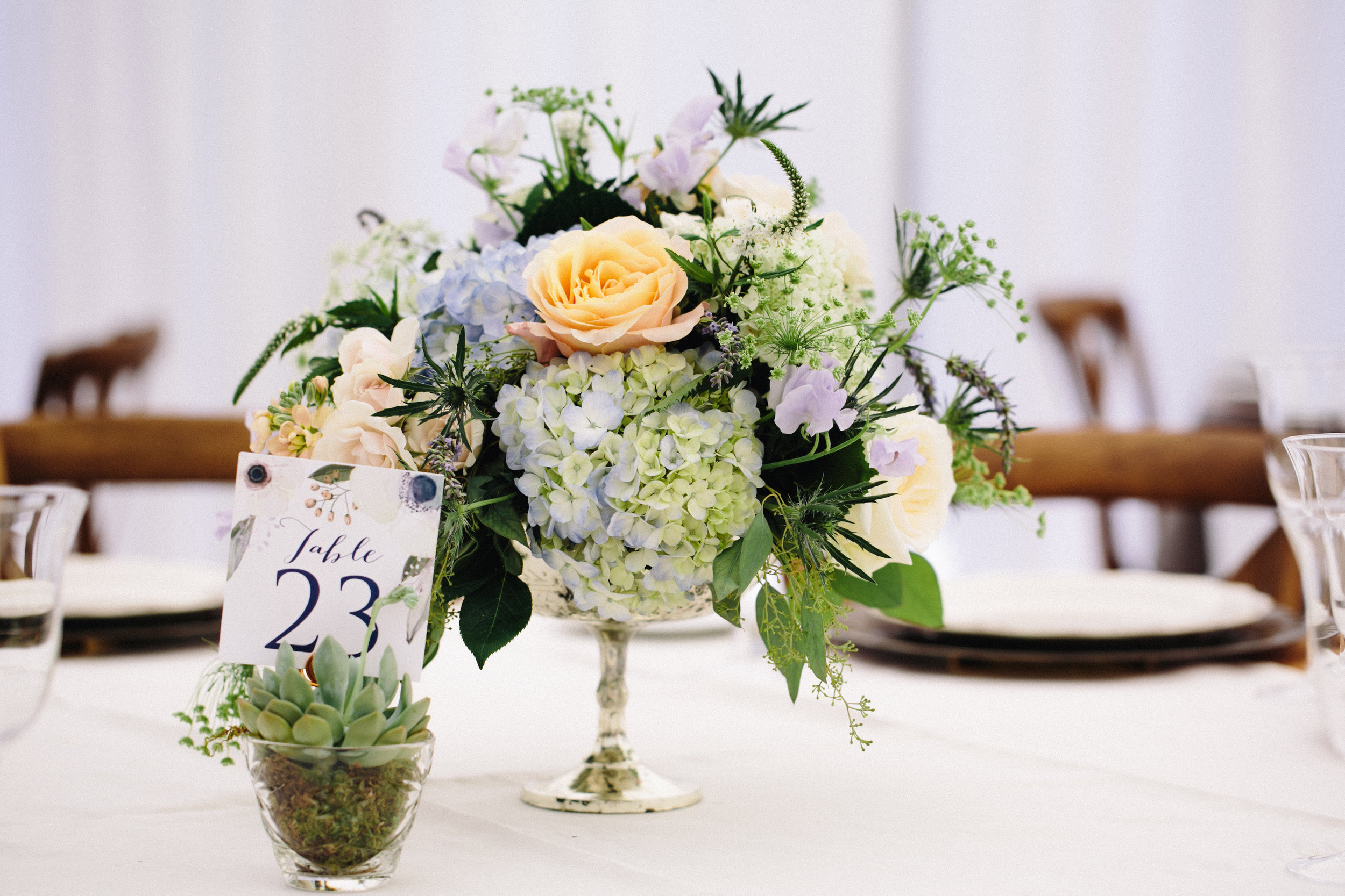 NJ Wedding, Private Wedding, Backyard Wedding, Tent Reception, Centerpiece, Muted Flowers, Karmapants Photography