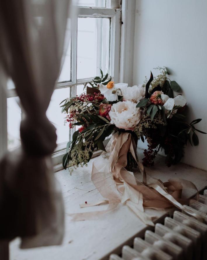 bohemian bouquet in windowsill at Rodale Institute