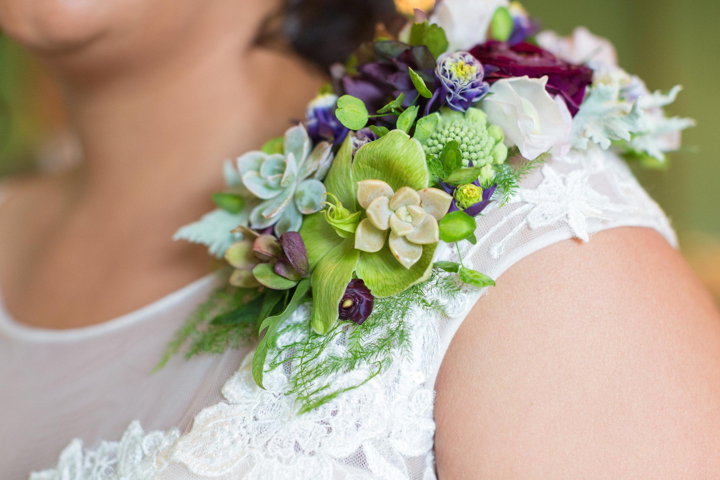 floral shoulder piece by A Garden Party florist