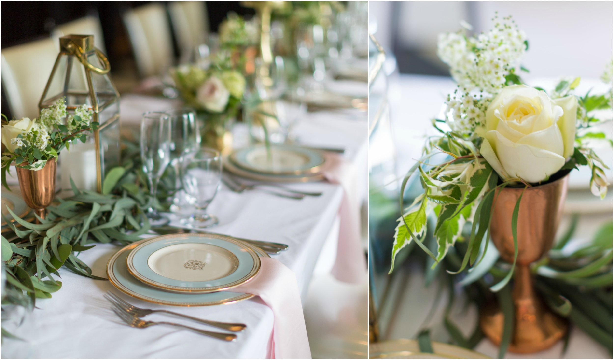 Table runner details by A Garden Party florist at Congress Hall