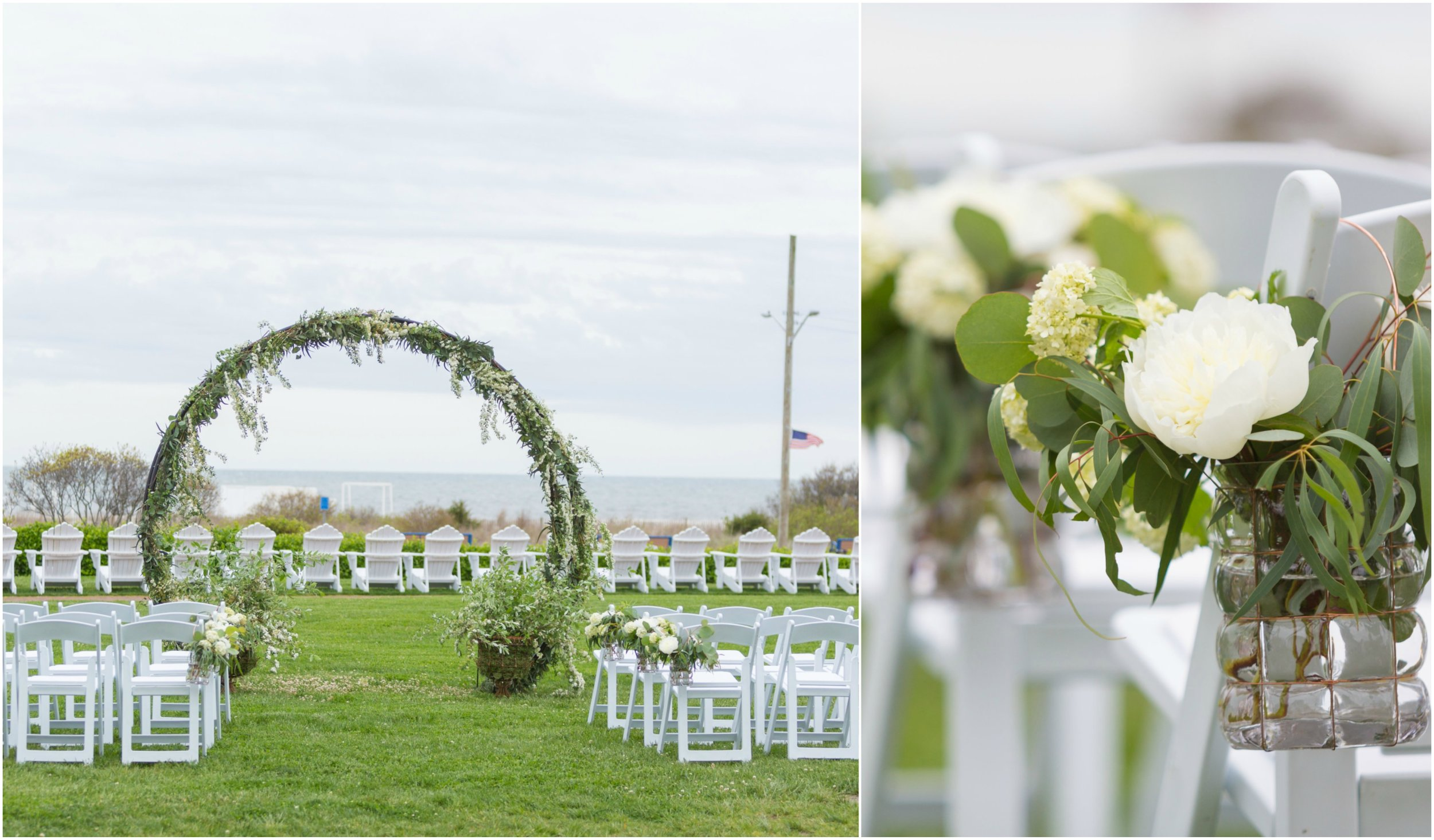 Ceremony details by A Garden Party florist for Congress Hall photo shoot