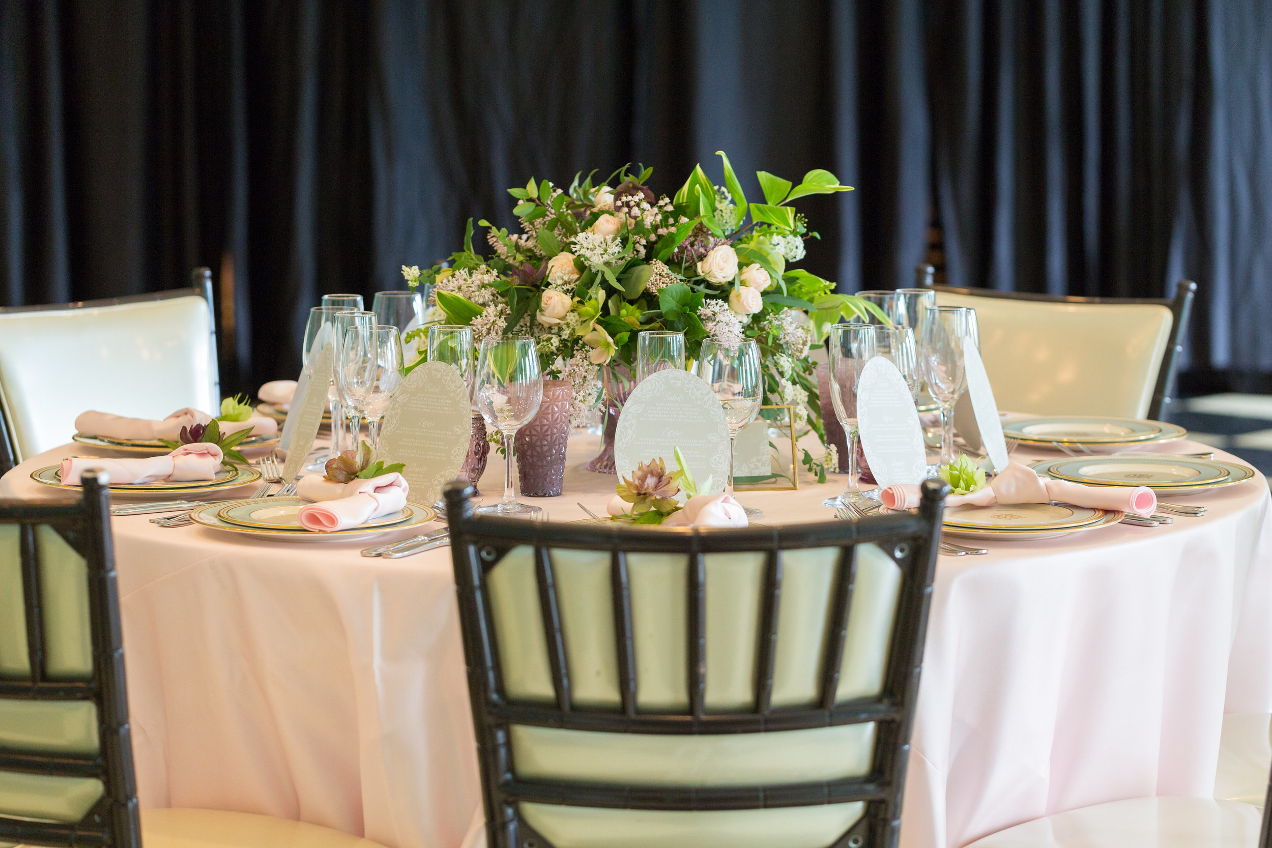 blush centerpiece arrangement by A Garden Party florist