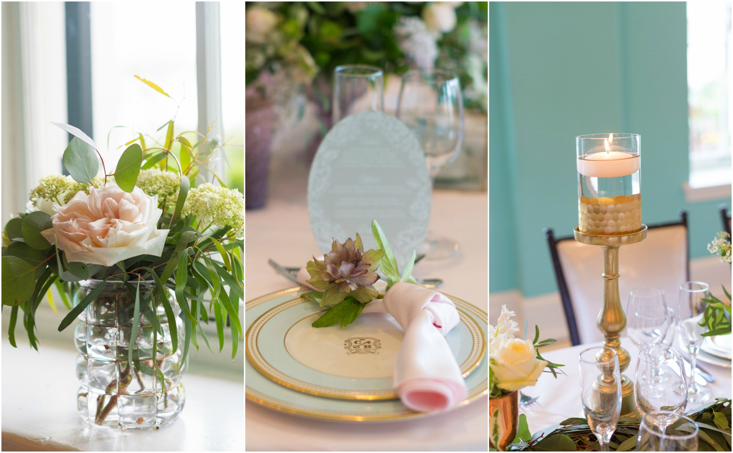 reception details by A Garden Party florist for Congress Hall photo shoot