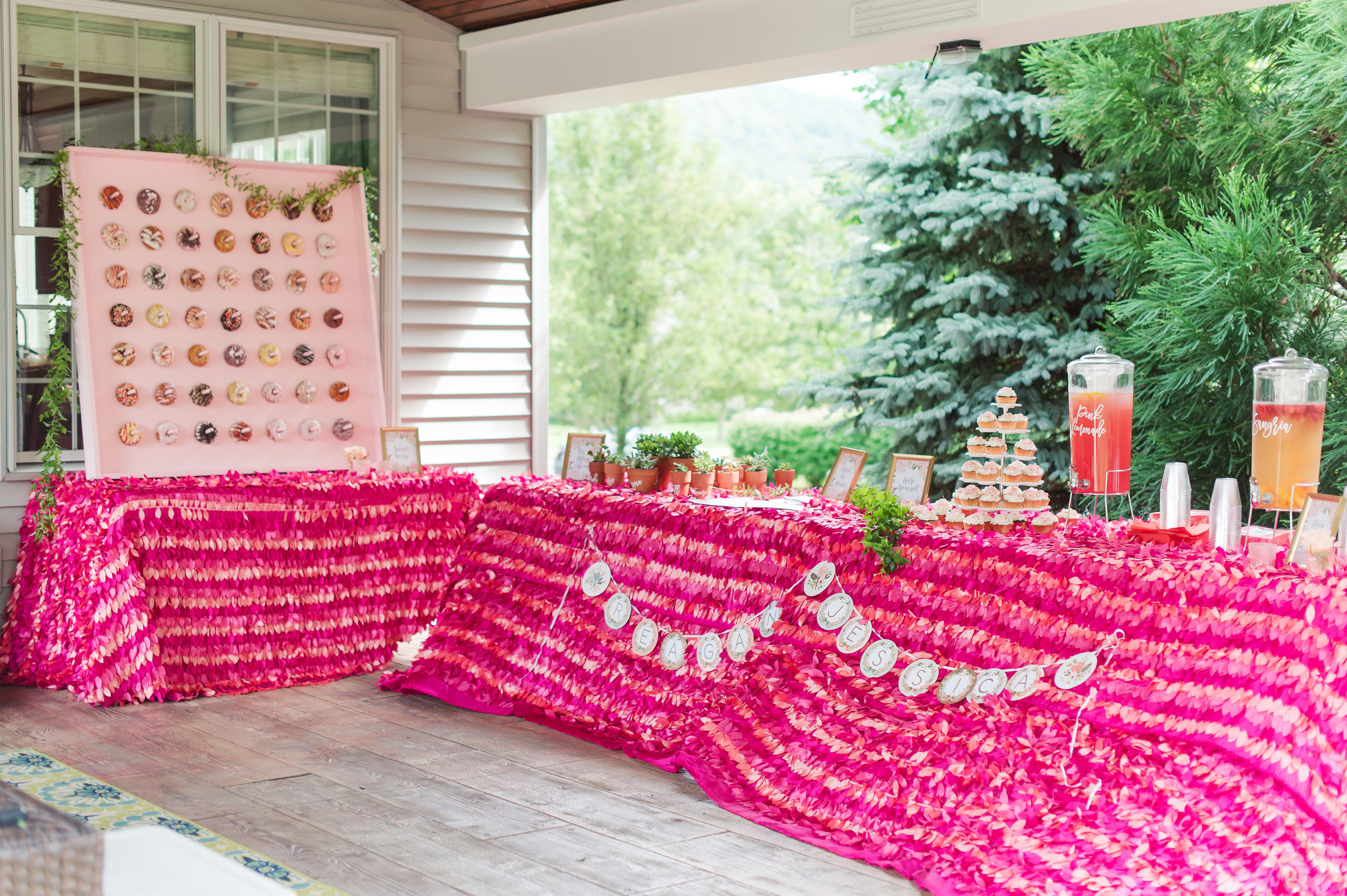 pink and peach petal linen
