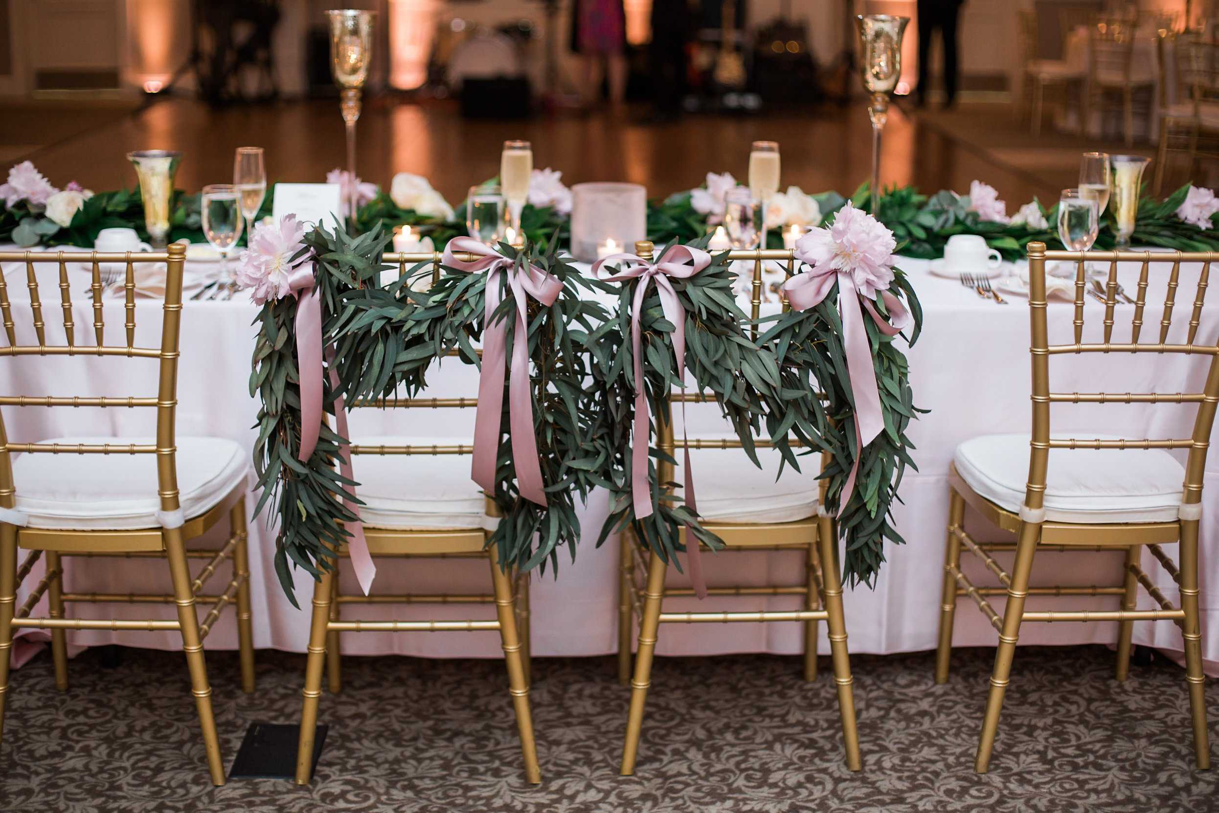 bride and groom chair swags