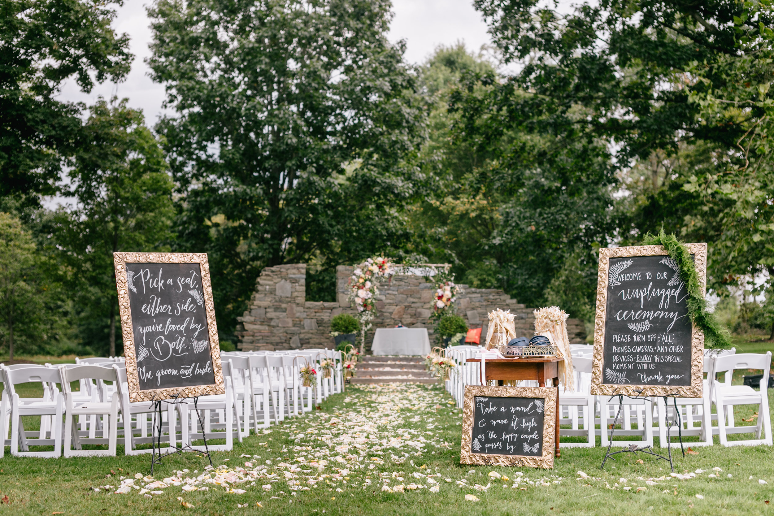 Sonia and Sam ceremony space at the Inn at Fernbrook