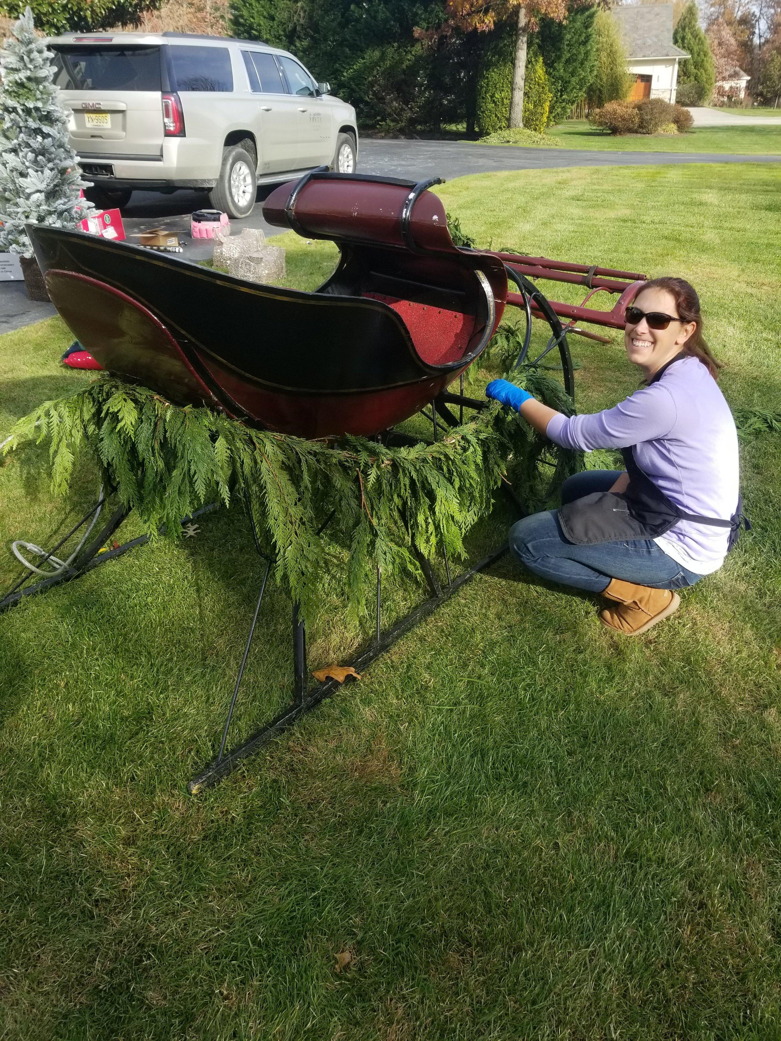 Ashley decorating sleigh