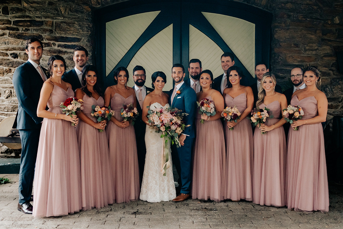 fall wedding bridal party knowlton mansion