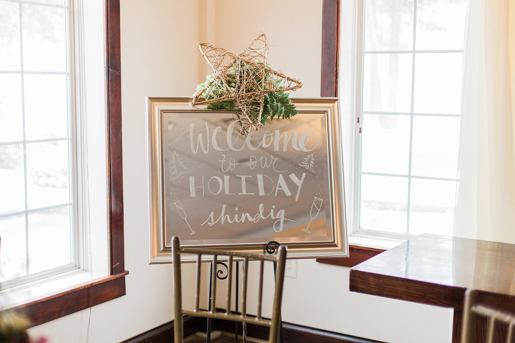 Running Deer holiday party welcome sign