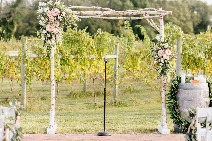 Cape May Willow Creek Winery Wedding, Ceremony Arch, Rustic Drift Rentals