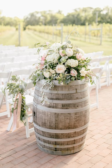 Cape May Wedding, Willow Creek Winery, Aisle Decor, Ceremony, Wine Barrel Wedding, Two Little Birds Planning, Emily Wren Photography
