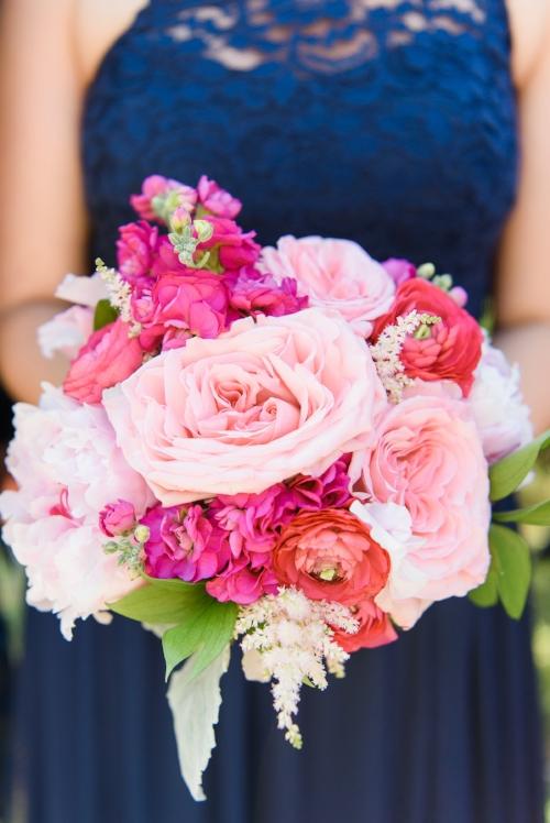 beach wedding - pink bridesmaid bouquet