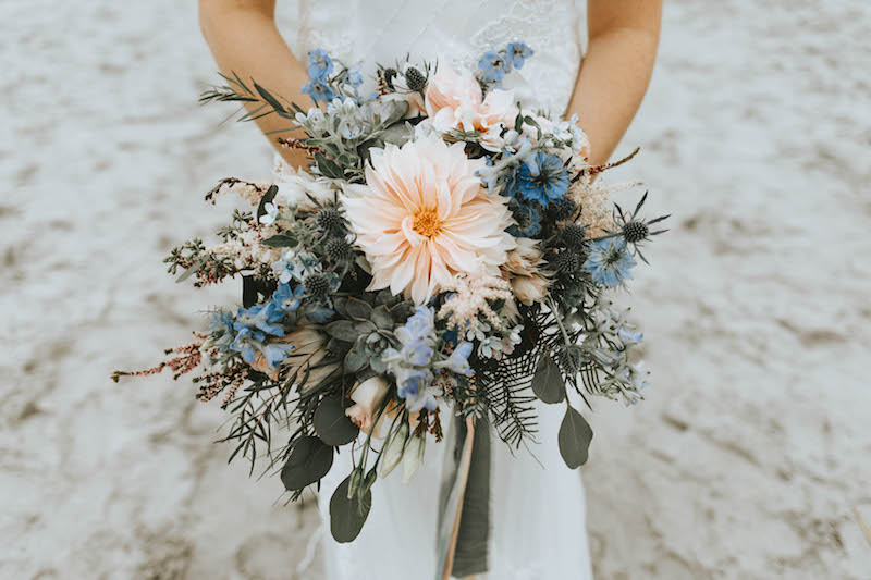 NJ Beach Wedding, Bride Bouquet, Dahlia, Twisted Oaks Studios
