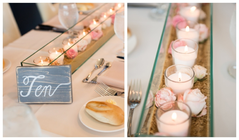 beach wedding - reception - centerpieces