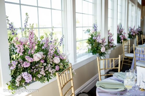 spring wedding - reception - window flowers