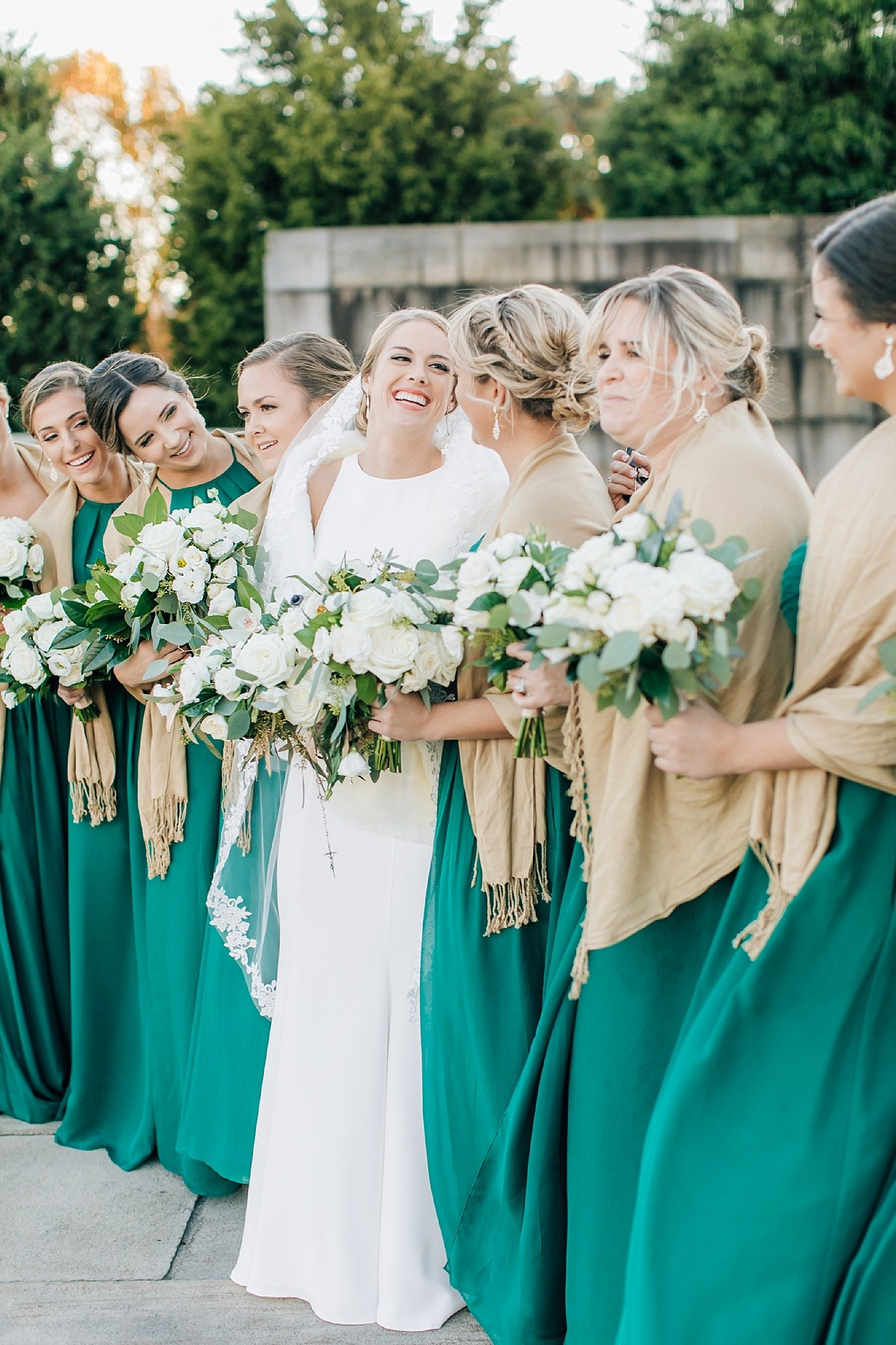 Philadelphia Wedding, The Loews Hotel, Bride + Bridesmaids, White and Green Bouquet, Magdalena Studios