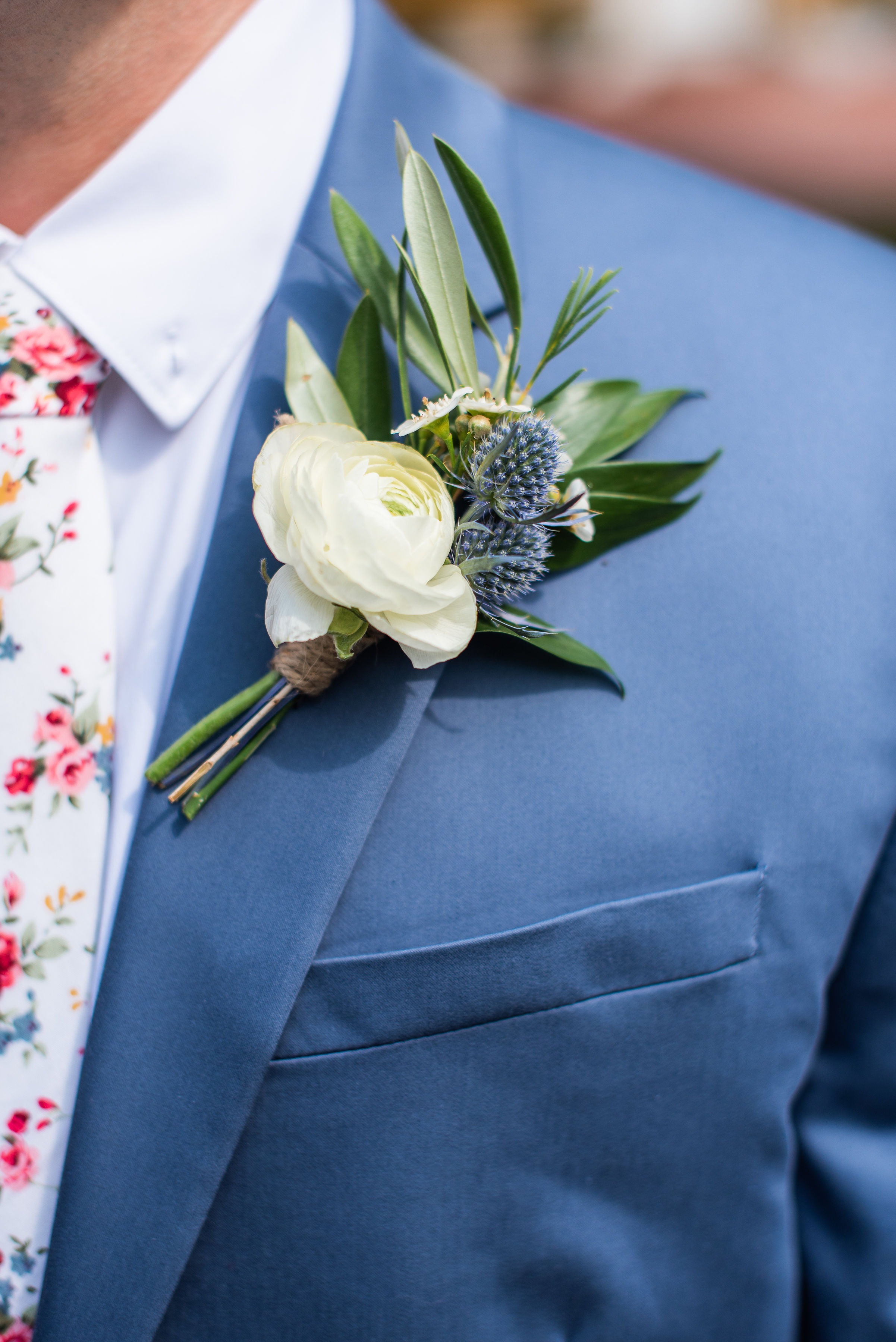 Groom Boutonniere, Groomsmen, Ranunculus, Olive Branch, Serena Star Photography