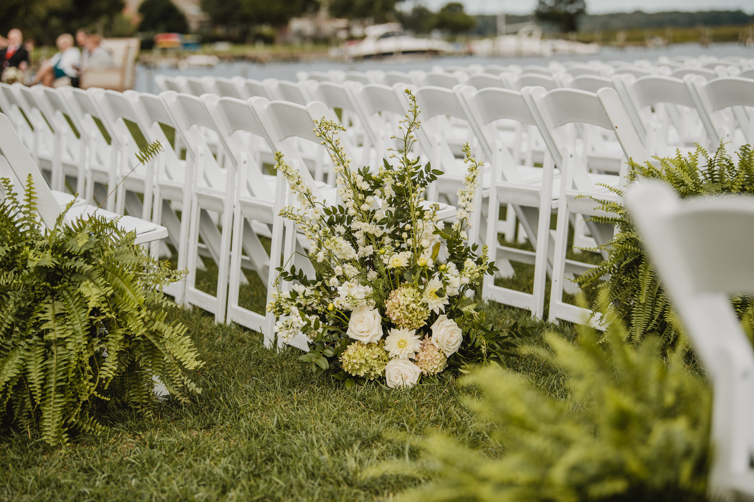 Inn at Perry Cabin Wedding, Aisle Decor, Moon Gate, Greenery, Aisle Urns, Maryland Wedding, A Garden Party, Tyler Boye Photography, Caroline Dutton Events, White Glove Rentals