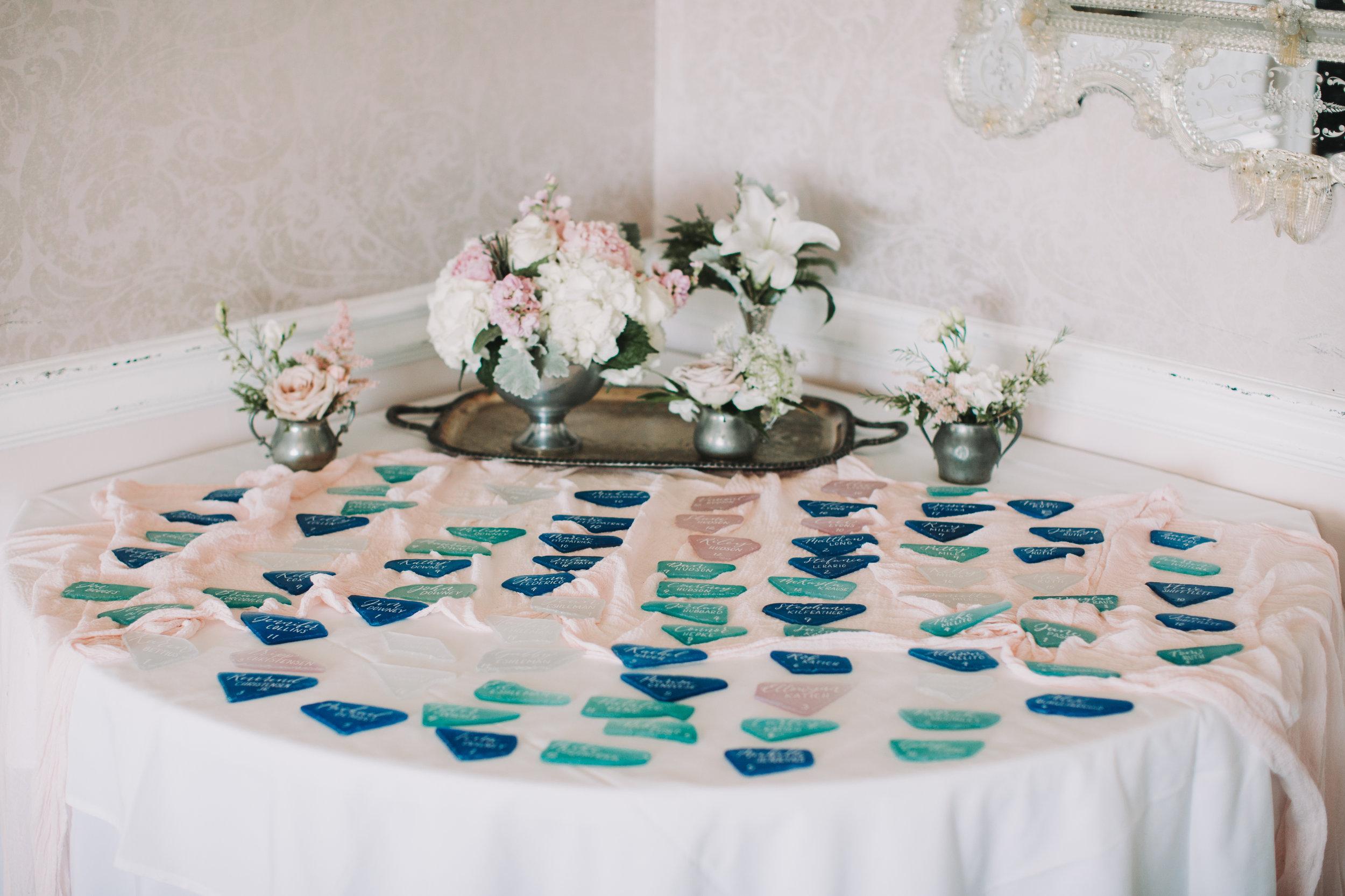 NJ Wedding, Seating Chart, Seating Assignments, Wedding Inspo, A Garden Party, Beach Wedding, Sea Glass Escort Cards