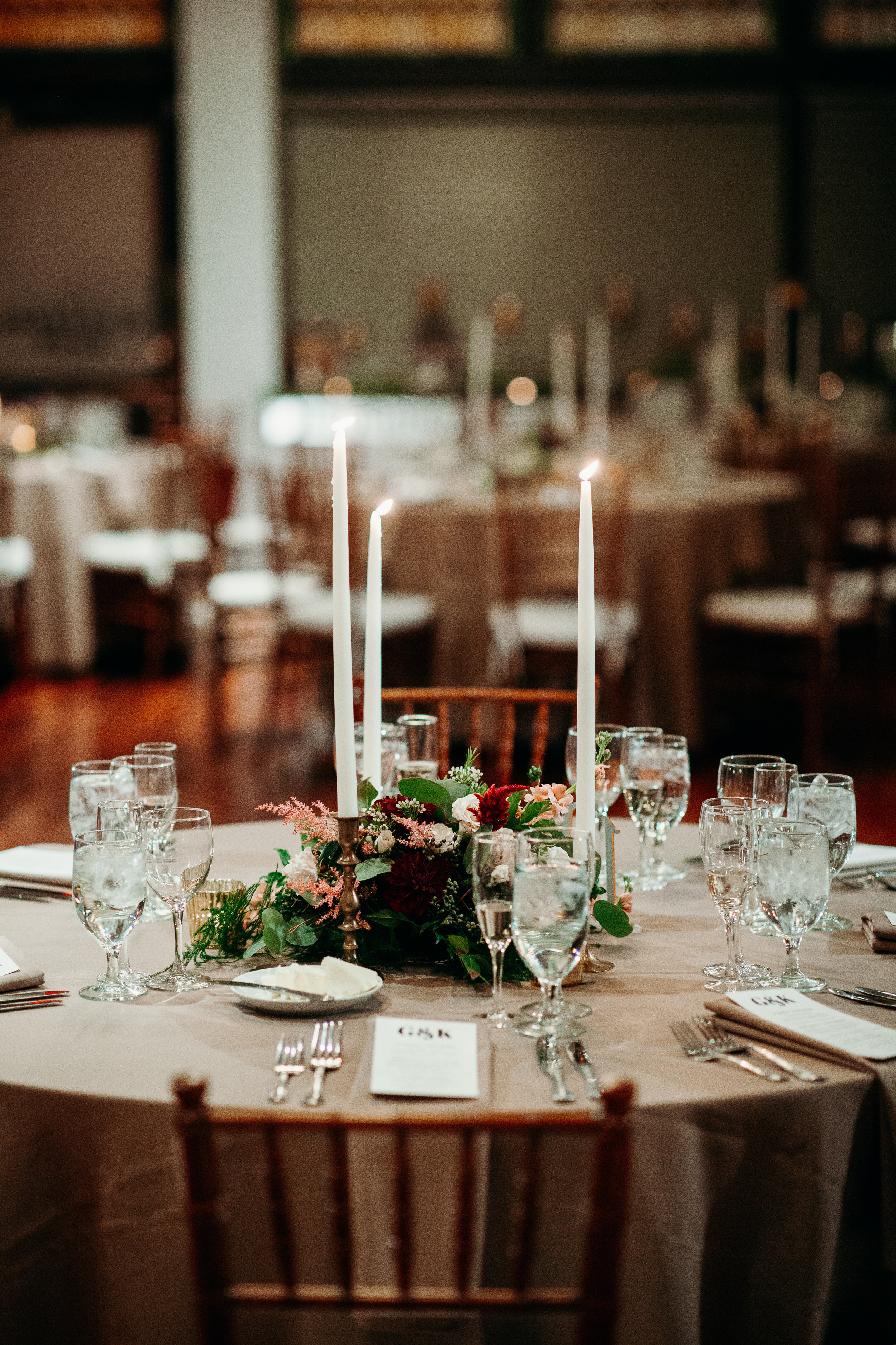 Philly Wedding, Centerpiece, Low Centerpiece, Greenery, Olde Bar Philly, Bookbinders, Philly Bride, A Garden Party, We Laugh We Love Photography