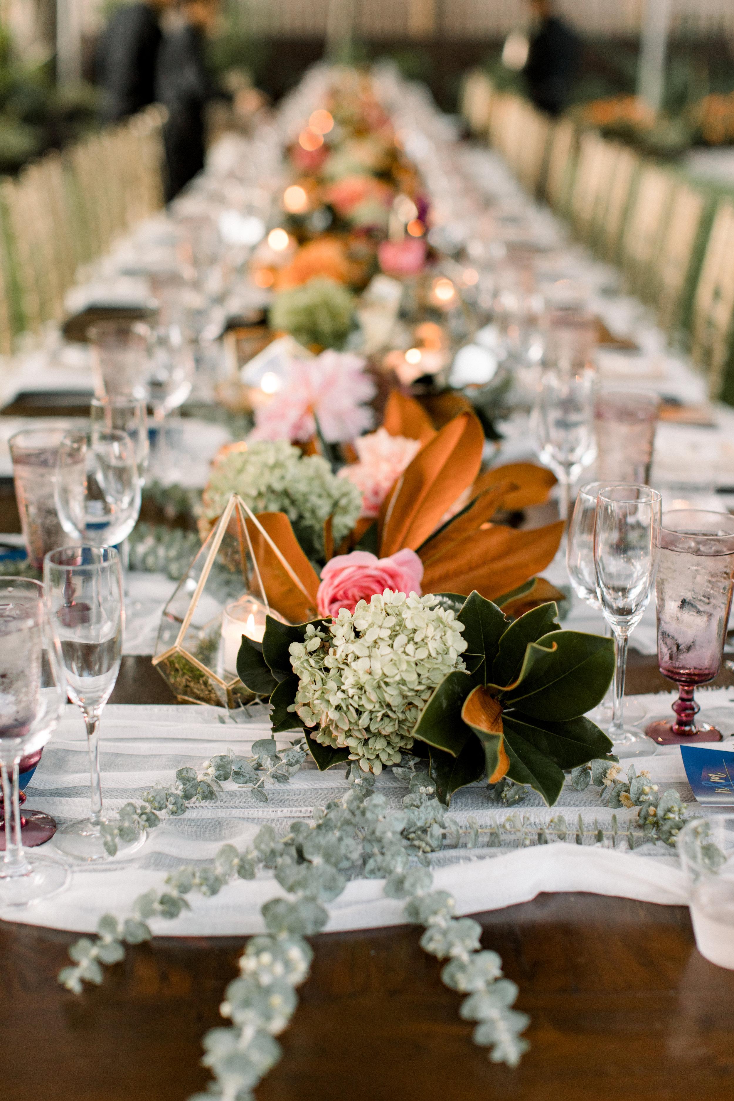 NJ Wedding, Backyard Wedding, Garland, Rectangle Table, Centerpiece, Magnolia Garland, Samantha Jay Photography
