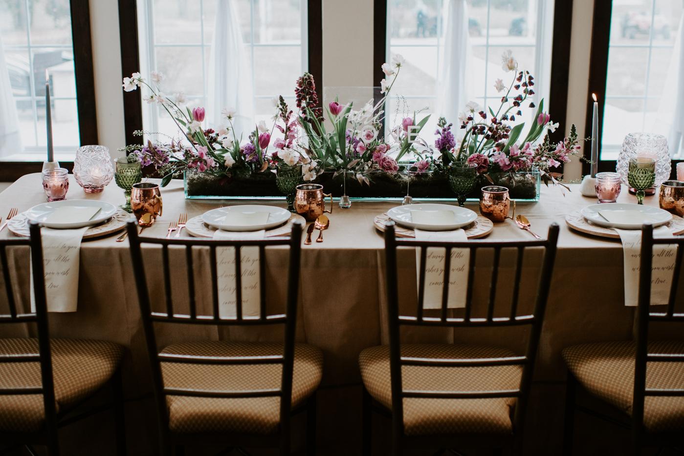 NJ Wedding, Centerpiece, Spraying Centerpiece, Rectangle Table, House of Catherine, Samantha Jay Photography
