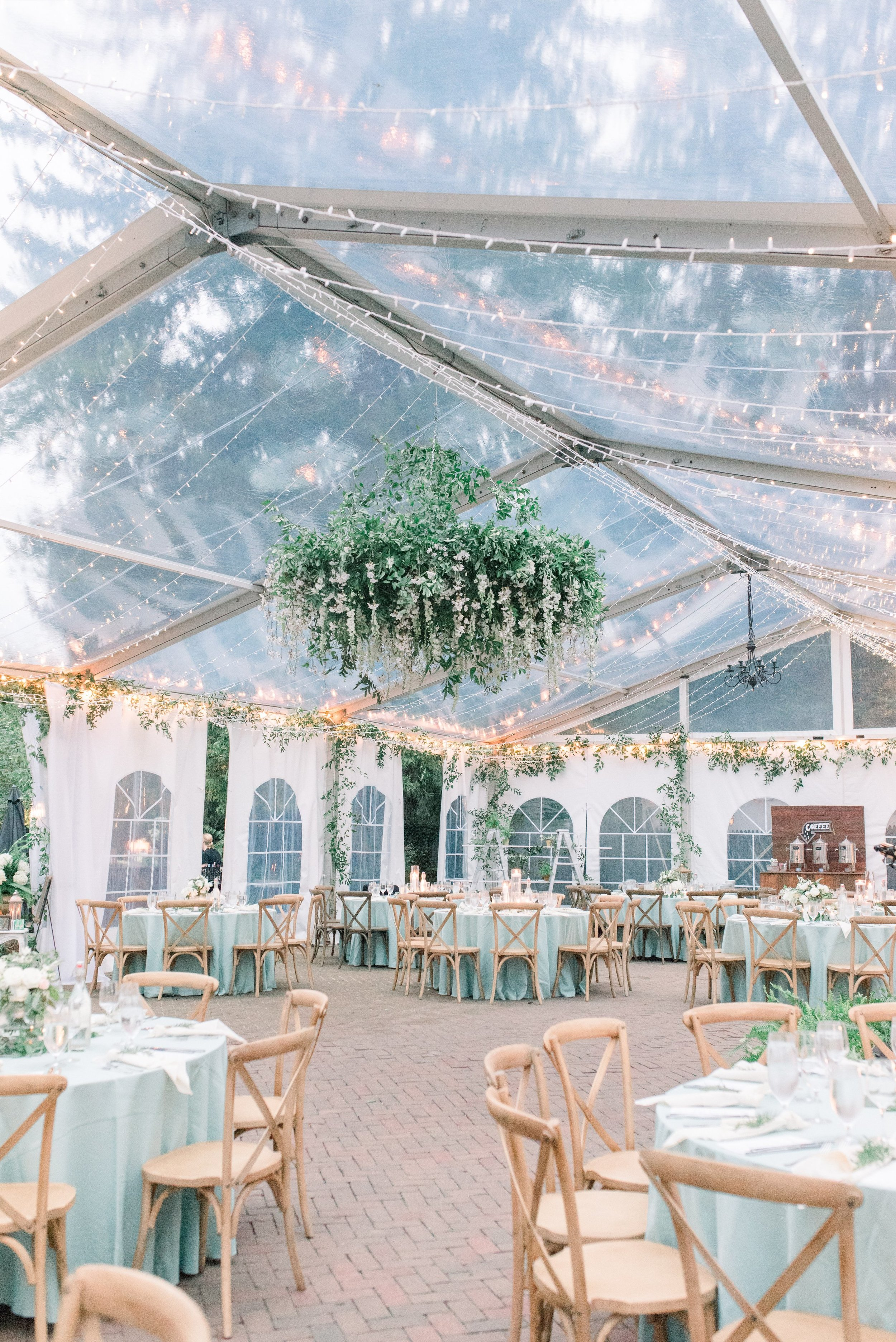Inn at Fernbrook Wedding, Hanging Chandelier, Greenery Wedding, NJ Wedding, Tent Wedding, Tent Decor, Wedding Flowers, Muted Wedding, Cassi Claire Photography
