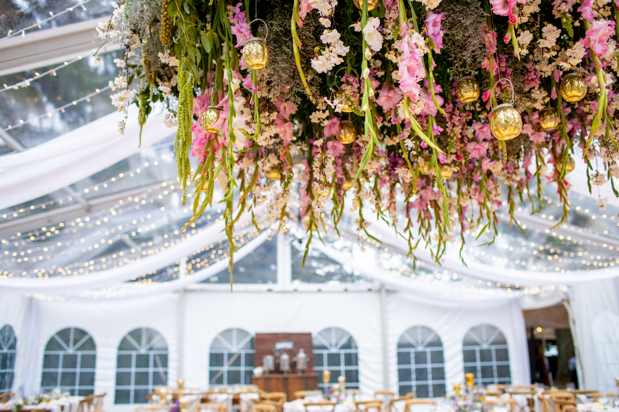 Inn at Fernbrook Wedding, Hanging Chandelier, Hanging Decor, Tent Wedding, Blush Wedding, Colorful Wedding, Drew Noel Photography