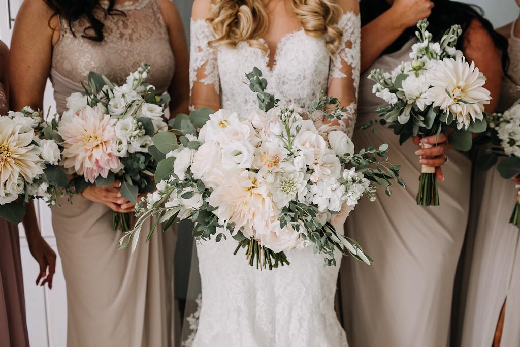 neutral bridesmaids, white bouquets, fall neutral tones, dahlias, Love Me Do Photography