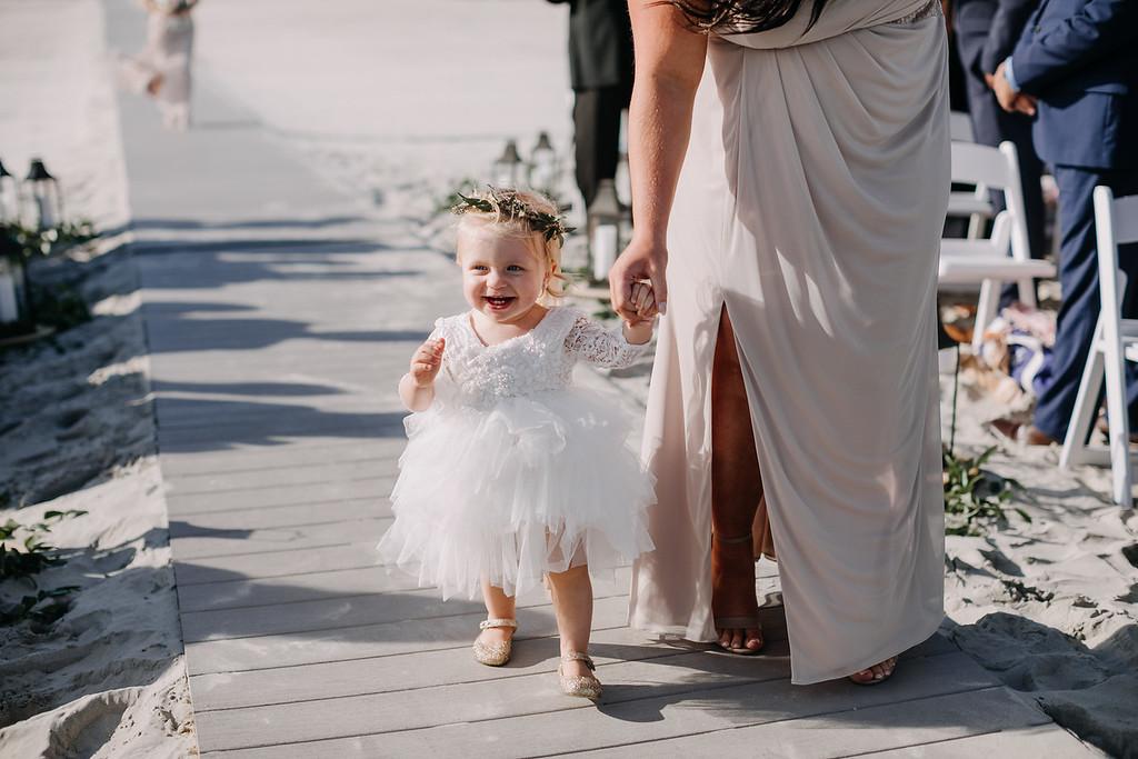 floral headband, beach ceremony, Icona Diamond Beach wedding, Love Me Do Photography