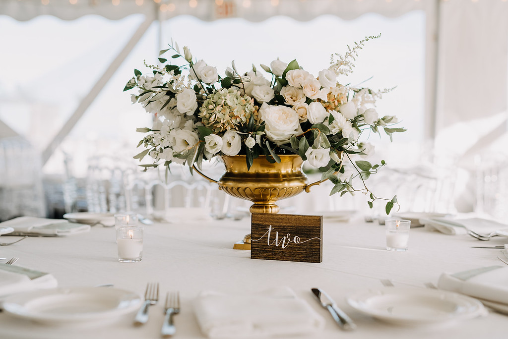 White wedding centerpiece, white floral compote, gold compote, tent wedding, Love Me Do Photography