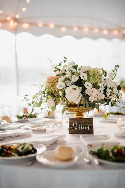 white wedding, classic centerpiece, tent wedding, gold compote centerpiece, Love Me Do Photography