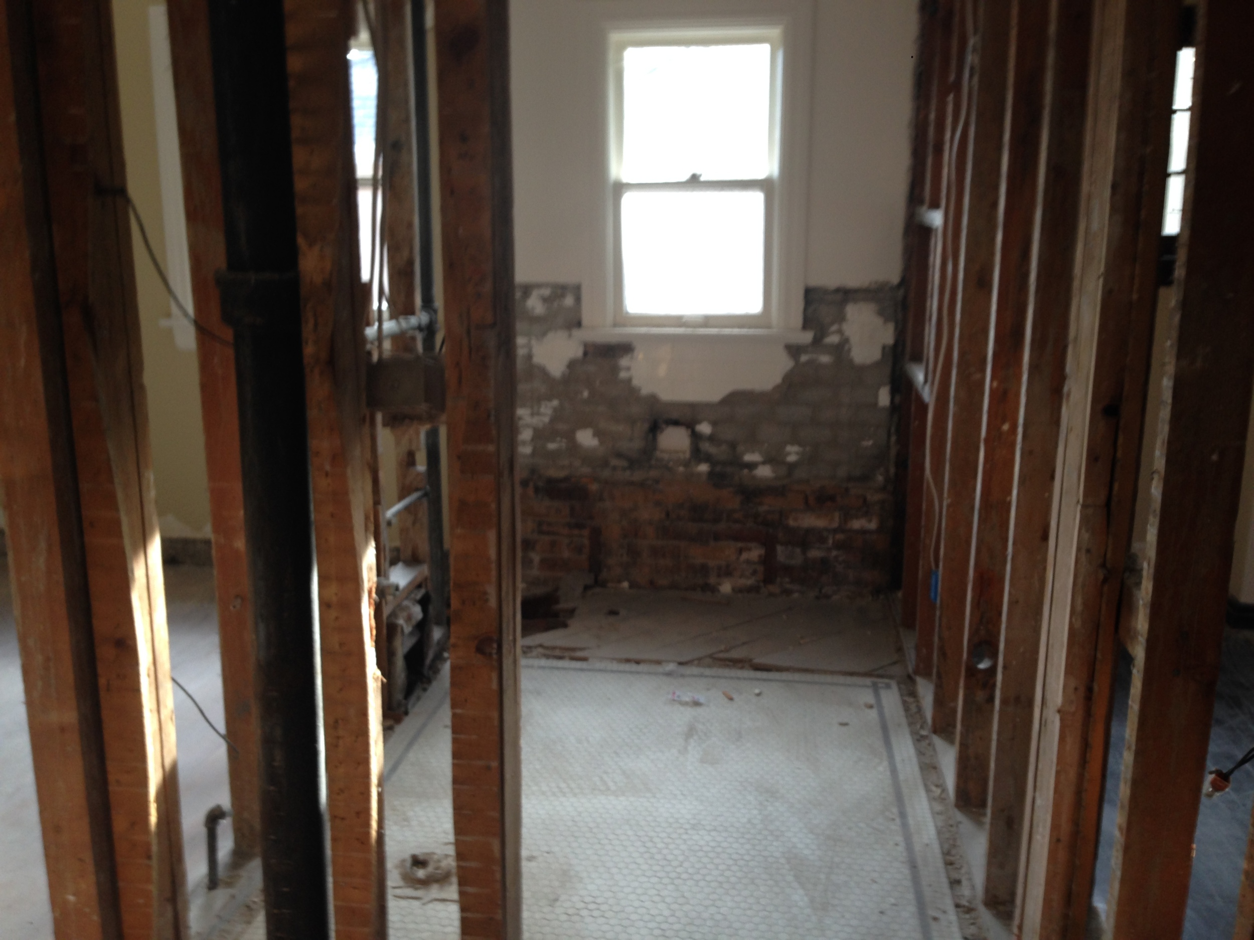 The Upstairs Bathroom- part of it was used for my Master Shower and Water closet, the other part for the Half Bath
