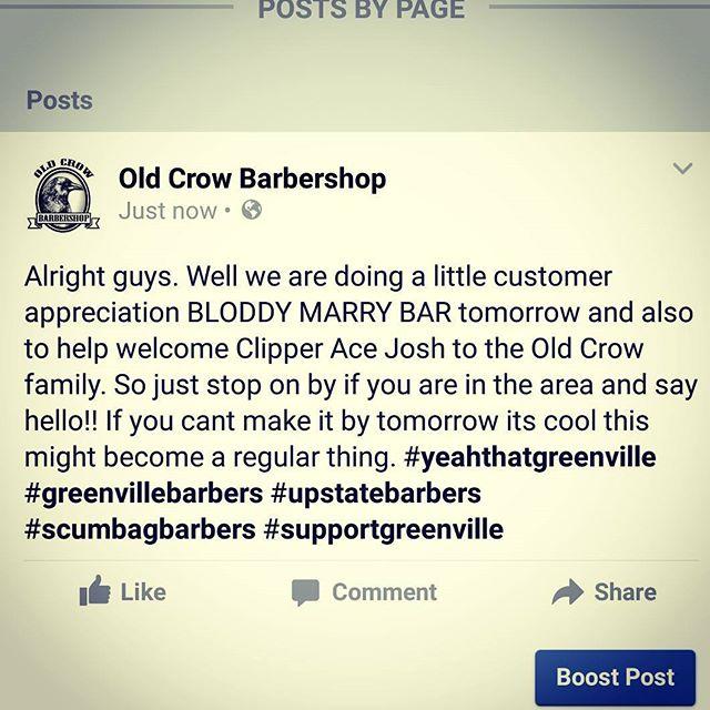 #oldcrowbarbershop #greenvillebarbershop #vintagebarbering #yeahthatgreenville #supportgreenville #buylocalgreenville #upstate #oldcrowbarbershop #beardoilgreenville #vintagebarbering #truebarbershop