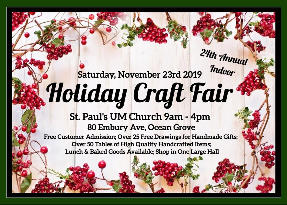 Hand crafters interested in reserving one of the limited show spaces still available, please email Sandi McEwan at stpaulscraftfair@aol.com or call (732) 681-1336.