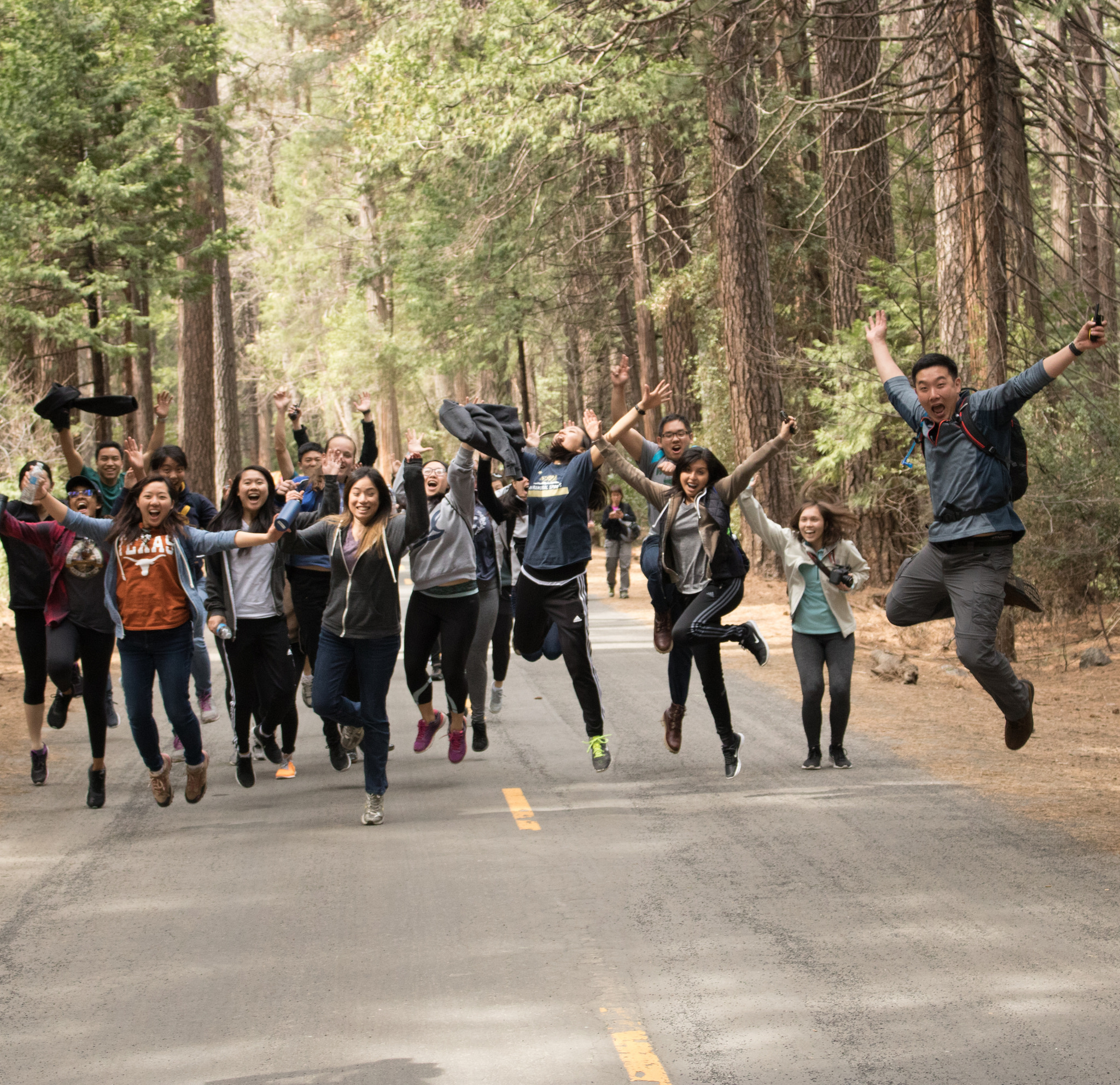 On the road to the hike with (mostly) successful jump picture!