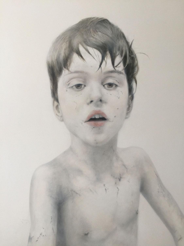 """Finn at Nine, 2017 Oil on canvas 42x52"""""""