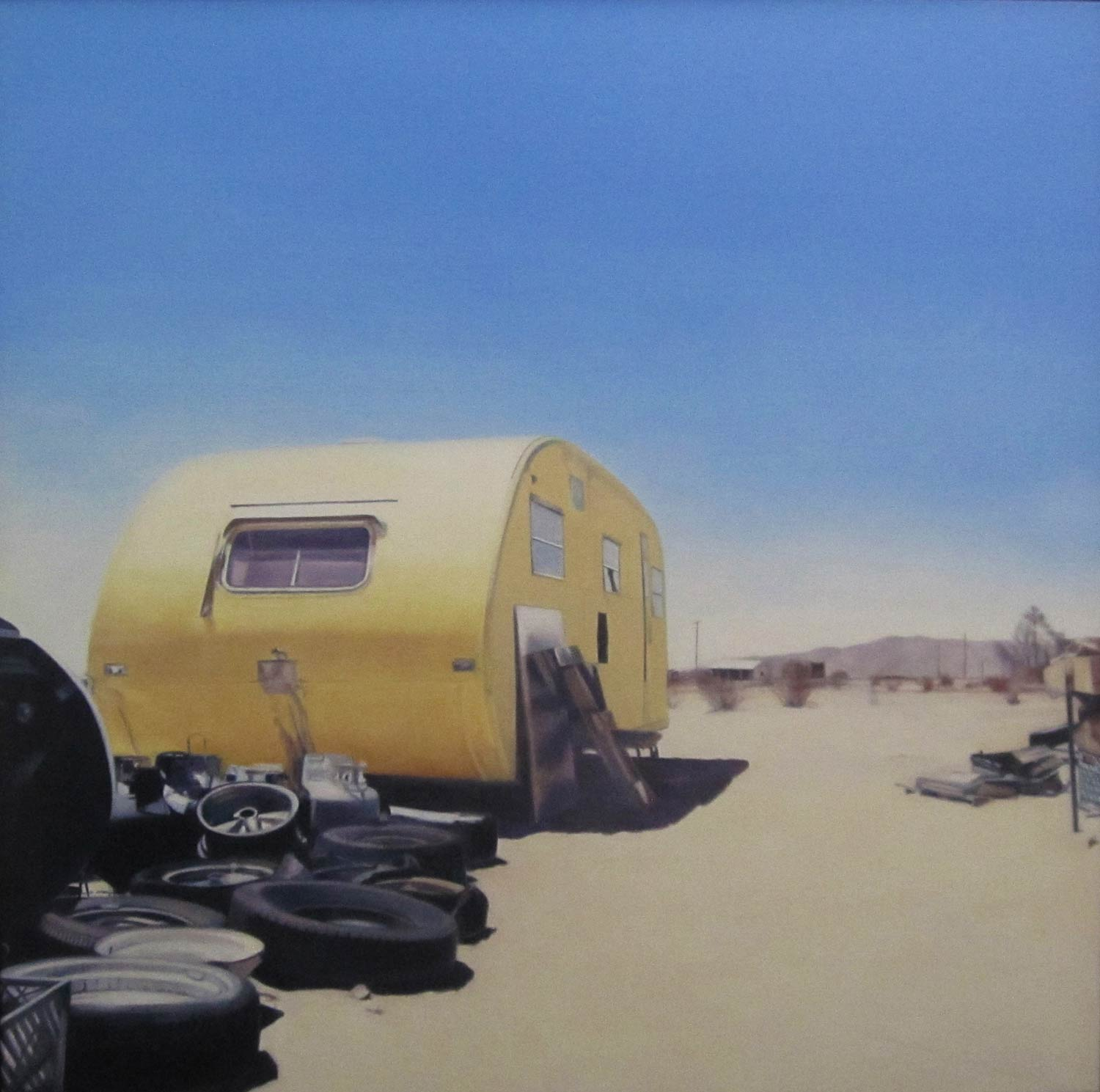 Back of Beyond, Wonder Valley, Yellow Trailer, 2012, oil on canvas, 48 by 48 inches