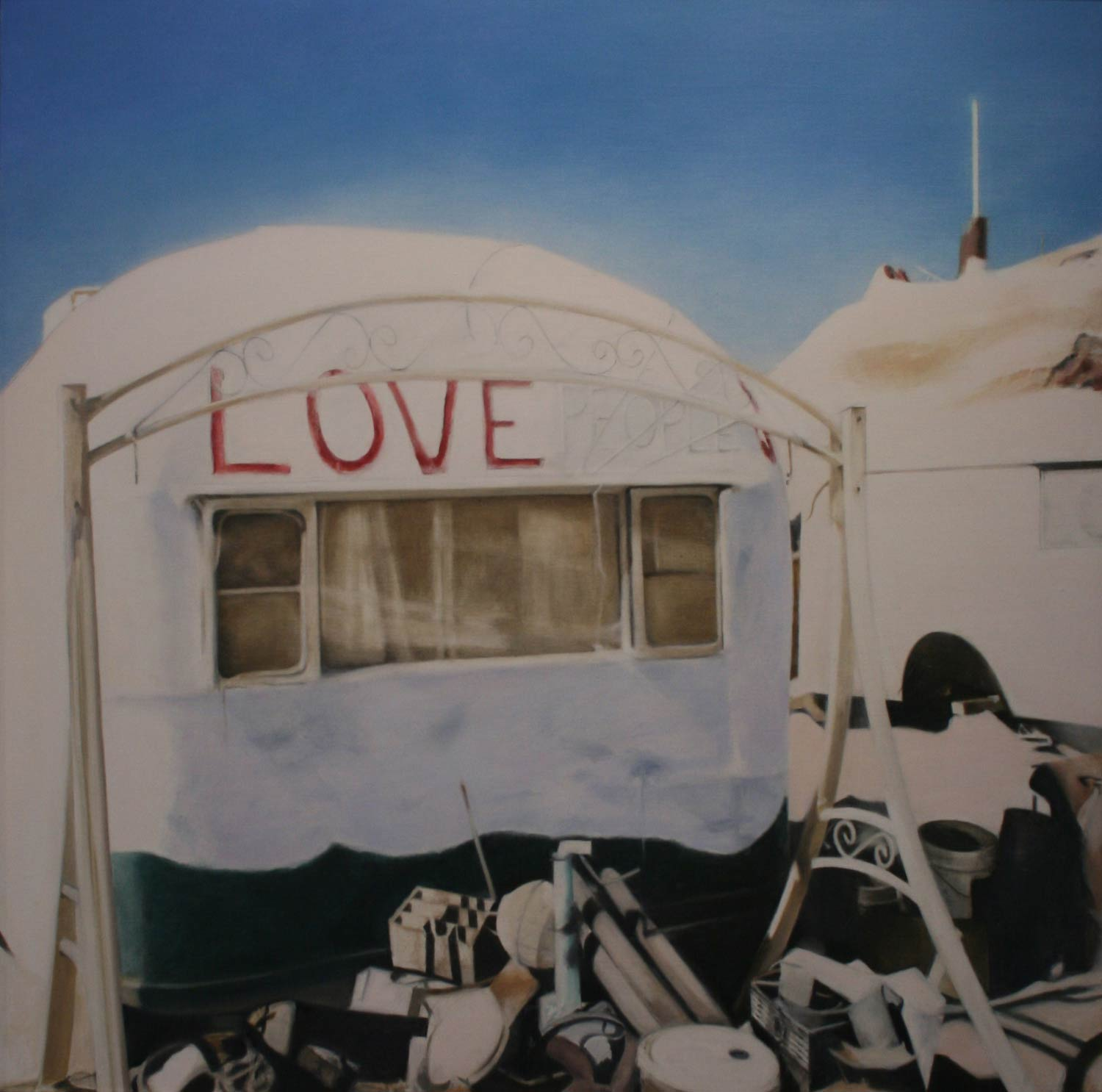 Home on the Strange: In Search of the Salton Sea, Love, 2009, oil on canvas, 36 by 36 inches